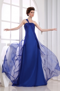 Royal Blue Chiffon One Shoulder Ruching Prom Dress