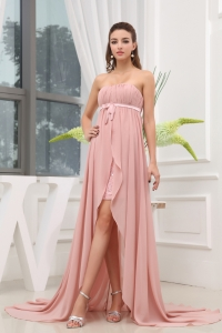 Ruching Hig-low Strapless Sash Court Train Prom Dress