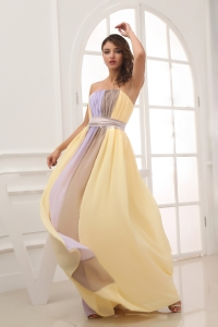 Ruching Strapless Multi-color long 2013 Elegant Prom Dress
