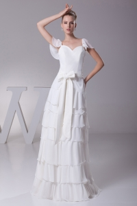 Ruffled Layers Sash V-neck Cap Sleeves Wedding Dress