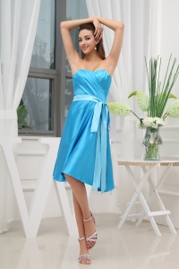 Sweetheart Ruching Sash Knee-length Prom Dress