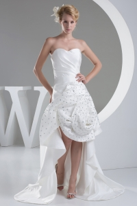 Beading Hand Made Flower Sweetheart High-low Wedding Dress