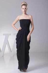 Black Column Strapless Ruching Prom Dress