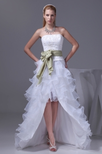Princess High-low Sash Ruffled Layers Embroidery Wedding Dress