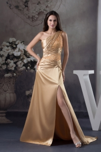 Champagne Beading One Shoulder Court Train Column Prom Dress