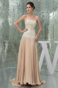 Champagne Strapless Sequins Empire Prom Dress With Brush Train
