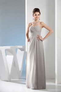 Cheap Column Sweetheart Ruching Gray long Prom Dress in 2013