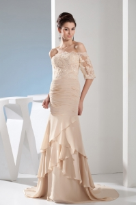 Lace Mermaid Champagne Brush Train Off the Shoulder Prom Dress
