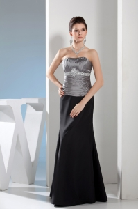 Rhinestone Column Strapless Long Black and Silver Mother of Bride Dresses