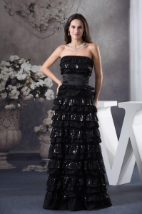 Ruffled Layers Strapless long Column 2013 Prom Dress in Black