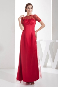 Scoop Ankle-length Empire Sequins Red Mother of Bride Dresses with Short Sleeves