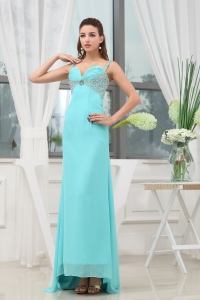 Beading Ruching Straps Long Prom Dress