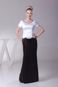 Beading Scoop Column Short Sleeves Mother of Bride Dresses