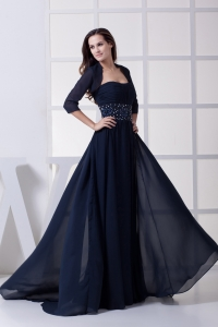 Beading Strapless Navy Blue Long Mother of Bride Dresses