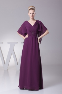 Beading and Ruching V-neck Long Mother of Bride Dresses