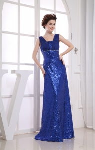 Royal Blue Sequin Square Ruching Prom Dress