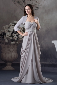 Sweetheart Beading Empire Brush Train Mother Of The Bride Dress