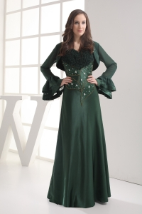 Straps Beading Long Dark Green Jacket Mother Of The Bride Dress