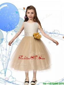 New Scoop Champagne Birthday Party Dress with Hand Made Flowers and Bowknot