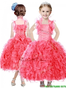 Beautiful Beaded and Ruffled Straps Birthday Party Dress in Coral Red