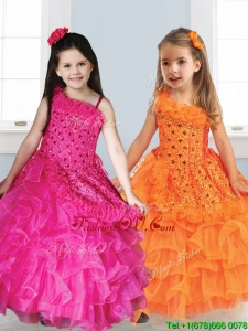 Best Asymmetrical Neckline Birthday Party Dress with Appliques and Ruffled Layers