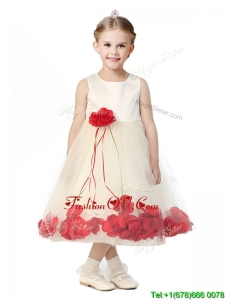Best Scoop Birthday Party Dress with Red Hand Made Flowers
