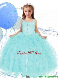 Elegant Straps Beading and Ruffles Birthday Party Dress in Apple Green