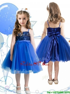 Fashionable Spaghetti Straps Royal Blue Birthday Party Dress with Sashes and Sequins