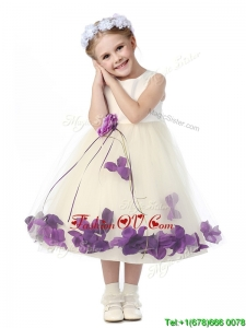 Gorgeous Scoop Birthday Party Dress with Purple Hand Made Flowers and Appliques