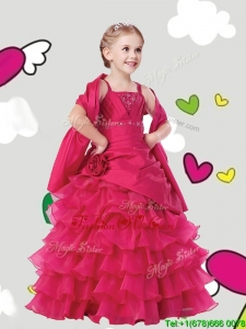 Gorgeous Straps Birthday Party Dress with Ruffled Layers and Hand Made Flowers