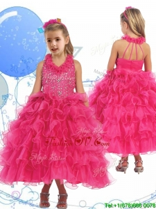Latest Halter Top Beading and Ruffled Layers Birthday Party Dress in Hot Pink