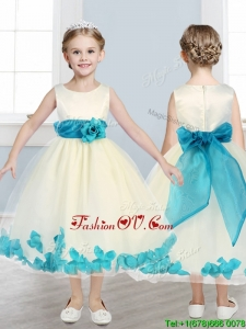 Lovely Scoop Birthday Party Dress with Teal Hand Made Flowers