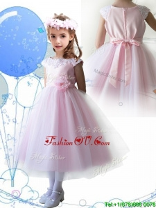 Lovely Scoop Hand Made Flowers and Appliques Birthday Party Dress in Baby Pink
