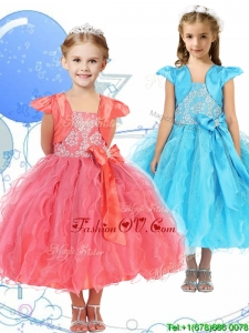 Modest Spaghetti Straps Birthday Party Dress with Beading and Ruffles