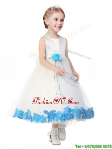 Perfect Scoop Birthday Party Dress with Aqua Blue Hand Made Flowers