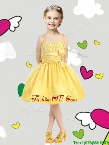 Perfect Spaghetti Straps Belt and Sequins Birthday Party Dress in Yellow