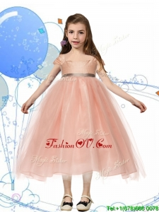 Perfect Square Cap Sleeves Sashes Birthday Party Dress in Peach