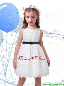 Popular Laced Scoop Birthday Party Dress with Black Sashes
