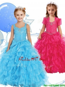 Romantic Straps Birthday Party Dress with Beading and Ruffled Layers