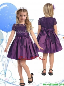 See Through Scoop Purple Birthday Party Dress with Lace and Belt