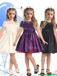 See Through Scoop Short Sleeves Birthday Party Dress with Lace and Belt