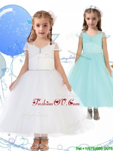 See Through Square Cap Sleeves Birthday Party Dress with Beading