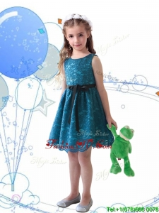Wonderful Laced and Sashed Scoop Birthday Party Dress in Teal