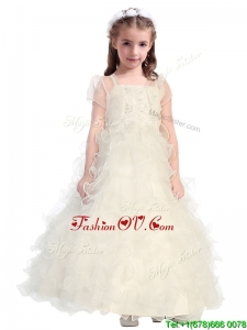 Discount Spaghetti Straps Flower Girl Dress with Beading and Ruffled Layers
