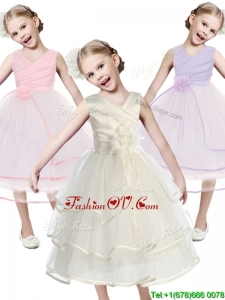 Fashionable V Neck Cheap Flower Girl Dress with Hand Made Flowers and Ruffled Layers
