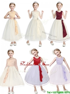New Arrivals Scoop Tulle Cheap Flower Girl Dress with Beading