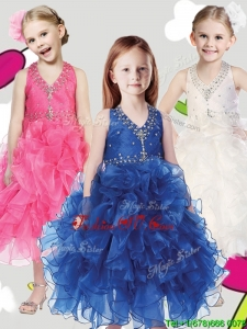 Best Beaded and Ruffled Halter Top Little Girl Pageant Dress in Tea Length