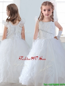 Discount Organza Straps Little Girl Pageant Dress with Sequins and Ruffles
