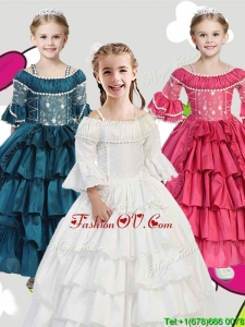 Gorgeous Spaghetti Straps Three Fourth Length Sleeves Little Girl Pageant Dress with Lace and Ruffled Layers