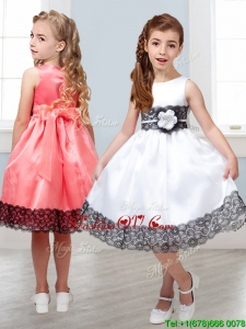 Popular Scoop White Little Girl Pageant Dress with Hand Made Flowers and Lace